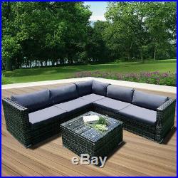 Rattan Wicker Garden Furniture Set 5 Seater 6 Piece Corner Sofa Patio Cushions