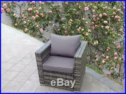 Rattan Wicker Garden Outdoor Grey Table And Chairs Furniture Patio Corner Sofa