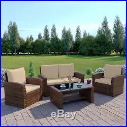 Rattan Wicker Weave Garden Furniture Conservatory Sofa Set, 4 Seater UK