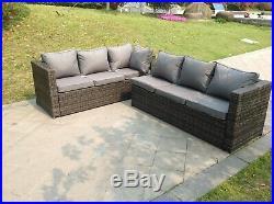 Rattan corner sofa dining set table outdoor garden furniture with footstools