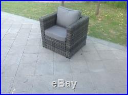 Rattan corner sofa set chair 2 coffee table patio outdoor garden furniture Grey