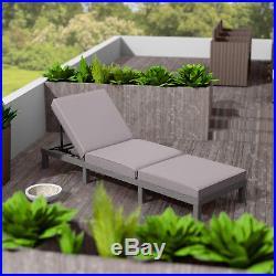 Rattan day bed chair sun lounger recliner garden furniture patio terrace grey