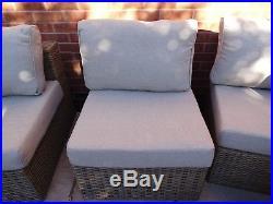 Rattan garden furniture set, 8 piece, brown, little use good condition, seats 9