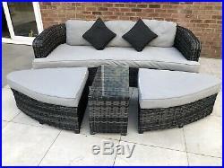 Rattan garden furniture sofa set grey/black