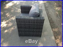 Rattan single sofa chair patio outdoor garden furniture sofa set with cushion