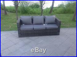 Rattan sofa dining set table ottoman outdoor garden furniture Lounge Sofa Grey
