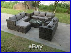 Rattan sofa set oblong coffee table chairs footstools outdoor garden furniture