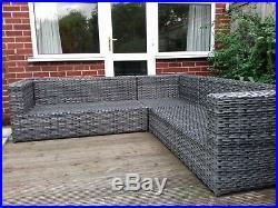Rattan style garden furniture corner sofa grey