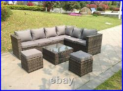 Right arm 8 seater corner rattan sofa set coffee table outdoor garden furniture