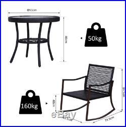 Rocking Garden Set Conservatory Patio Furniture Rattan Bistro Sofa Chair Table