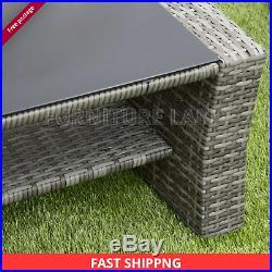 Scandi Rattan Garden Furniture 4 Piece Patio Set Table Chairs Grey Or Brown