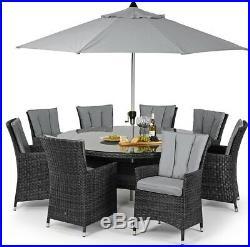 Seattle Rattan Outdoor Garden Furniture 8 Seater Grey Round Dining Table Set
