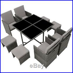 Set Rattan Garden Furniture Cube 8 Seater Table Cushions Protective Case Grey