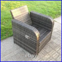 Single Reclining Rattan Arm Chair Patio Outdoor Garden Furniture With Cushion