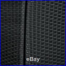Steel Poly Rattan Garden Furniture Set Patio Wicker 2x Chair 1x Table black