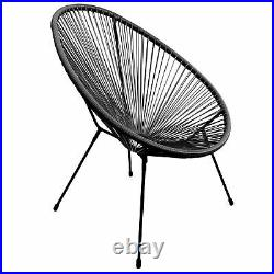 String Moon Chair Wire Frame Rattan Patio Seat Indoor Outdoor Garden Bistro