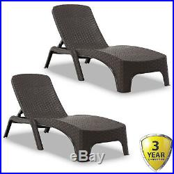 Sun Lounger Outdoor Garden Patio Relaxer Brown Rattan Reclining Bed Furniture