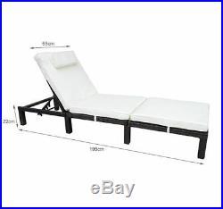 Sun Lounger Rattan Hommock Sun Bed Garden Furniture Recliner Chair withCushion