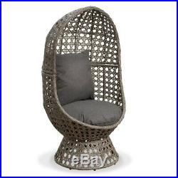 Swivel Cocoon Egg Chair Rattan Wicker Super Comfy Ideal For Garden & Consevatory