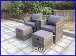 TWIN TABLE STOOLS RATTAN WICKER CONSERVATORY OUTDOOR GARDEN FURNITURE SET Grey