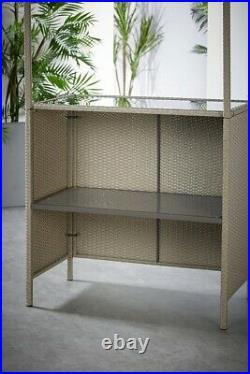 Tiki 3-Piece Bar Set with Tropical Canopy Garden Outdoor Furniture Grey 1802