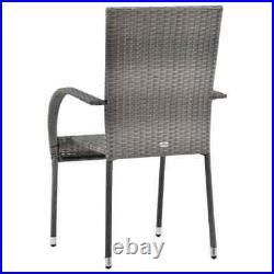 VidaXL 4x Stackable Outdoor Chairs Grey Poly Rattan Patio Garden Dining Seat