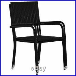 VidaXL 5 Piece Outdoor Dining Set Poly Rattan Black Garden Patio Table Chair