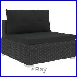 VidaXL 5x Garden Lounge Set with Cushions Poly Rattan Black Outdoor Sofa Sets