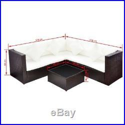 VidaXL Garden Sofa Set 17 Pieces Poly Rattan Outdoor Couch Lounge Brown/Black