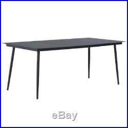 VidaXL Outdoor Dining Set 9 Piece Poly Rattan Black Garden Patio Table Chair