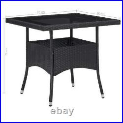 VidaXL Outdoor Garden Dining Table Black Poly Rattan and Glass Home Furniture
