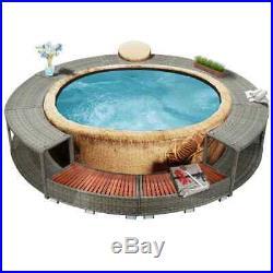 VidaXL Spa Surround Grey Poly Rattan Hot Tub Surround Relax Furniture Garden