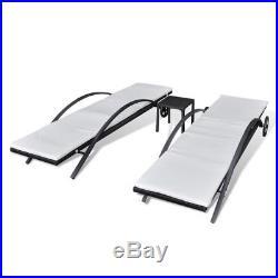 VidaXL Sunlounger Set 5 Pieces Black Poly Rattan Outdoor Furniture Set Garden
