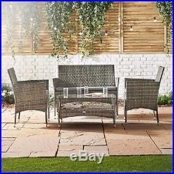 VonHaus 4 Piece Rattan Garden Furniture Sofa Set Cushioned Grey Outdoor Lounge