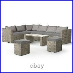 VonHaus Rattan Garden Furniture Set 8 Seater Outdoor Corner Sofa L-Shaped Grey