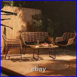 VonHaus Rattan Sofa Set All Weather Wicker Outdoor Rattan Garden Furniture