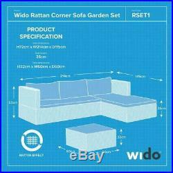 Wido RATTAN GARDEN FURNITURE SET CORNER SOFA GLASS TABLE GREY OUTDOOR COMFORT
