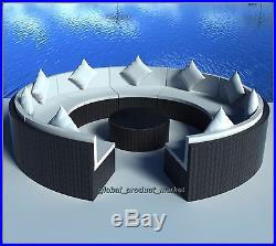 XXL Rattan Sofa Set Black Large Round Table Seating Furniture Garden Lawn Pool