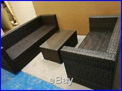 YAKOE 5 Seater Rattan Garden Furniture Patio Conservatory Sofa Set Brown