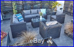 Yakoe 7 seater rattan garden conservatory furniture sofa set black+ rain cover