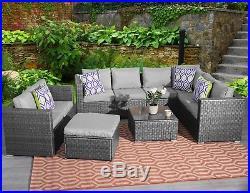 Yakoe 9 Seater Rattan Corner Garden Furniture Set Sofa Table Stool Patio