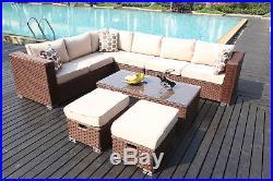 Yakoe Conservatory MODULAR 8 Seat Rattan Corner Sofa Set Garden Furniture Brown