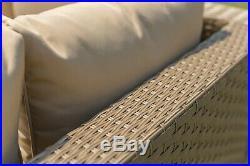 Yakoe Outdoor Rattan Garden Furniture 5 Seater Corner Sofa Patio Set Sand Color