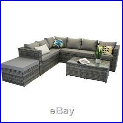 Yakoe Rattan Garden Furniture 9 Seater Corner Sofa Set Outdoors Grey+ rain cover