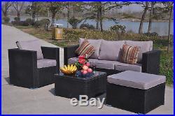 Yakoe Rattan Garden Furniture Set Sofa Table Chairs Garden Patio Conservatory